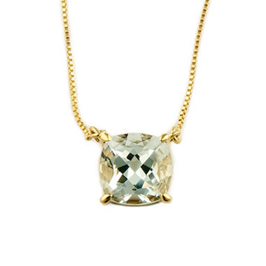1.53 ct. Cushion-Cut Aquamarine Pendant in 14k Yellow Gold
