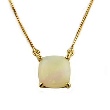 .65 ct. Cushion-Cut Lab-Created Opal Pendant in 14k Yellow Gold