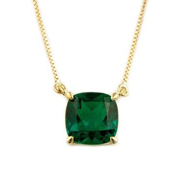 .85 ct. Cushion-Cut Lab-Created Emerald Pendant in 14k Yellow Gold
