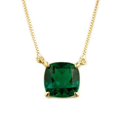 .85 ct. Cushion-Cut Lab-Created Emerald Pendant in 14k Yellow Gold