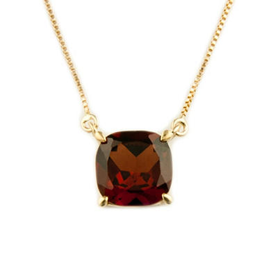 1.80 ct. Cushion-Cut Garnet Pendant in 14k Yellow Gold