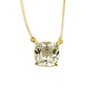 1.80 ct. Cushion-Cut White Topaz Pendant in 14k Yellow Gold