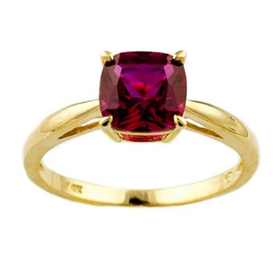 1.81 ct. Cushion-Cut Lab-Created Ruby Ring in 14k Yellow Gold