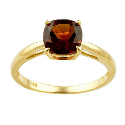1.80 ct. Cushion-Cut Garnet Ring in 14k Yellow Gold