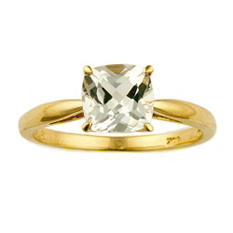 1.80 ct. Cushion-Cut White Topaz Ring in 14k Yellow Gold