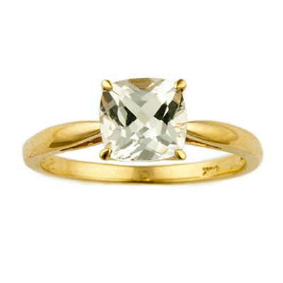 1.80 ct. Cushion-Cut White Topaz Ring in 14k Yellow Gold