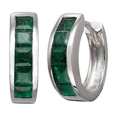 Natural Emerald Huggie Earrings in Sterling Silver