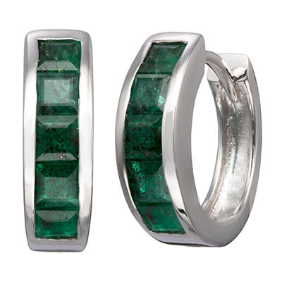Natural Emerald Huggie Earrings in Sterling Silver
