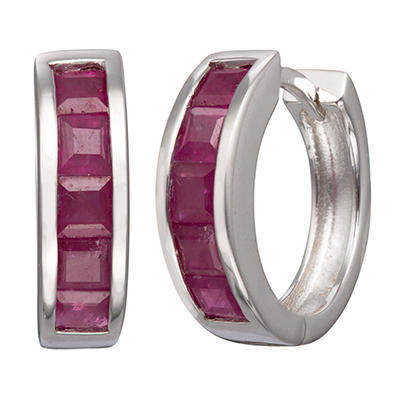 Natural Ruby Huggie Earrings in Sterling Silver