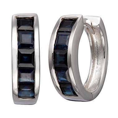 Natural Blue Sapphire Huggie Earrings in Sterling Silver