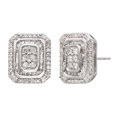 0.50 CT. T.W. Diamond Rectangle Earrings in Sterling Silver (H-I, I1)