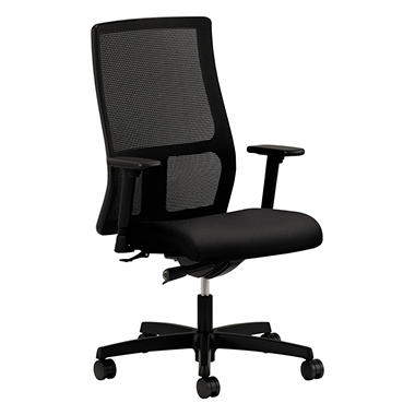 Hon - Ignition Series Mesh Mid-Back Work Chair - Black Fabric Upholstered Seat