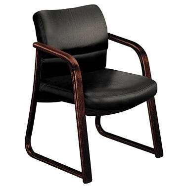 HON - 2900 Series Guest Chair with Wood Arms - Black Vinyl/Mahogany Finish
