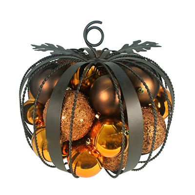 "Iron Pumpkin with Ornaments - 15"" Wide"