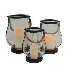 Flameless LED Glass Lanterns  3-Pack