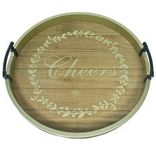 Holiday Time Oversized Handcrafted Christmas Tray - Cheers
