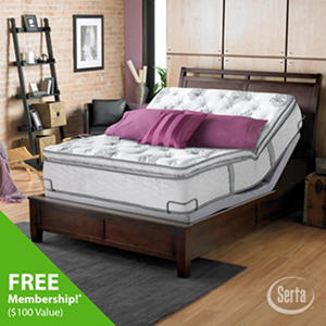 Serta Perfect Sleeper Dunway Plush Super Pillowtop Mattress and Motion Select Adjustable Foundation Set (Various Sizes)