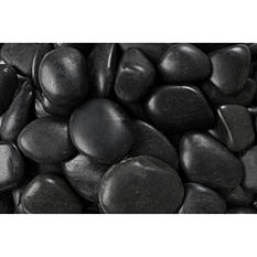 30 lb. Black Grade A Polished Pebble 1-2in.