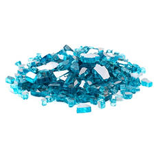 10 lb. Caribbean Blue Reflective Tempered Fire Glass