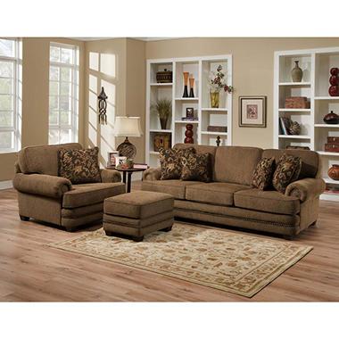 Avrey 3 piece fabric sofa set with nailhead trim sam 39 s club for 3 piece couch set