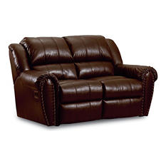 Lane Furniture Steve Double Reclining Top-Grain Leather Loveseat