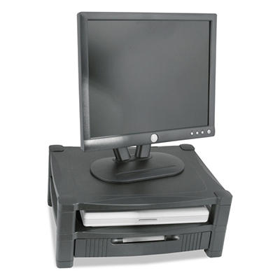 Kantek - Two Level Stand, Removable Drawer, 17 x 13 1/4 x 3 to 6 1/2 -  Black