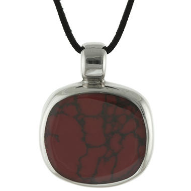 Lab Created Red Jasper Pendant in Sterling Silver