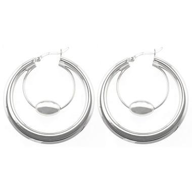 Sterling Silver Beaded Double Hoop Earrings
