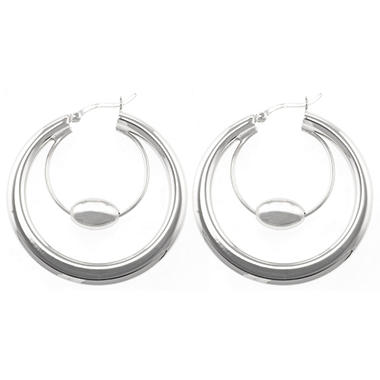 Sterling Silver Beaded Double Hoop Earrings