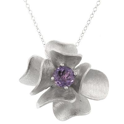 Sterling Silver Genuine Amethyst Flower Pendant
