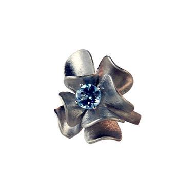 925 RING BLUE TOPAZ FLWR SZ 9