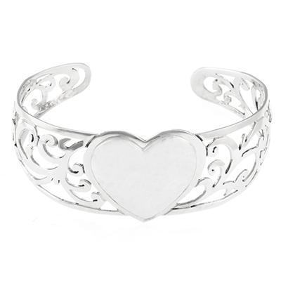Sterling Silver Hammered Heart Cuff Bracelet