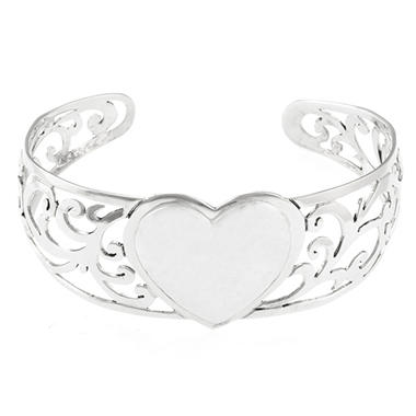 Sterling Silver Hammered Heart Cuff Bracelet