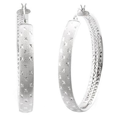 45mm Sterling Silver Diamond Cut Hoop Earrings