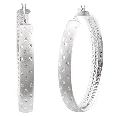 45mm Sterling Silver Diamond Cut Hoop Earrings