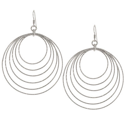 Sterling Silver Diamond Cut Circle Earrings