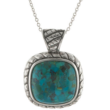 Genuine Turquoise and Sterling Silver Pendant