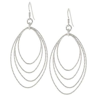 Sterling Silver Diamond-Cut Oval Drop Earrings