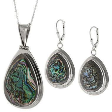 Sterling Silver Genuine Abalone Pendant & Earring Set