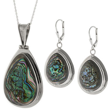 Sterling Silver Genuine Abalone Pendant & Earring Set