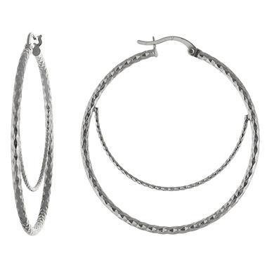 Sterling Silver Diamond-Cut Double Hoops