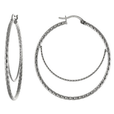 Sterling Silver Diamond-Cut Double Hoops