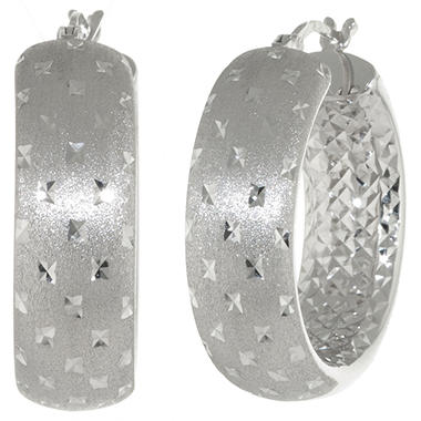 28mm Sterling Silver Diamond-Cut Earrings