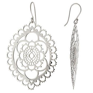 Sterling Silver Laser Cut Marquise Drop Earrings