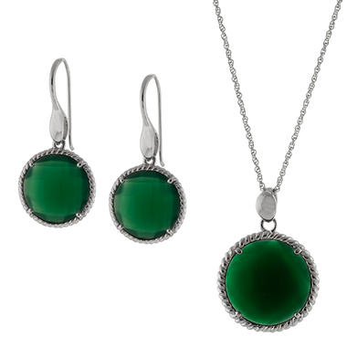 Sterling Silver and Genuine Green Onyx Earring and Pendant Set