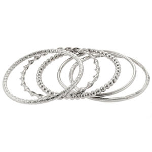 Sterling Silver Set of 5 Stackable Bangles