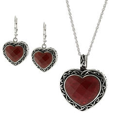 Lab Created Red Jade Heart Earring and Pendant Set in Sterling Silver
