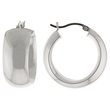 Sterling Silver Hoop Earrings - 25mm x 10mm