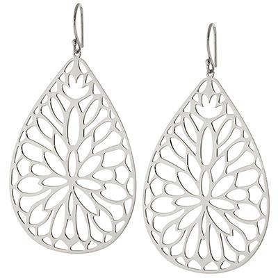 Sterling Silver Lasercut Teardrop Flower Earrings