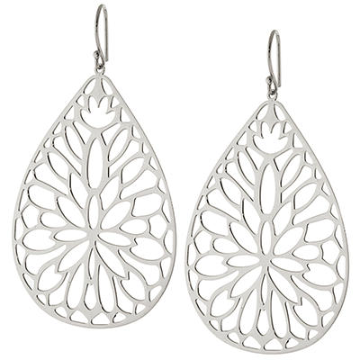 Sterling Silver Lasercut Teardrop Flower Earrings